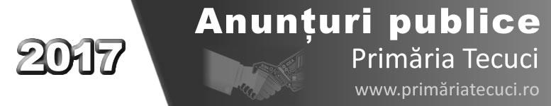 Anunturi publice publicate de Primaria Municipiului Tecuci in 2017