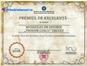 Diploma muzeul Tecuci la Gala culturii Galatene 2018