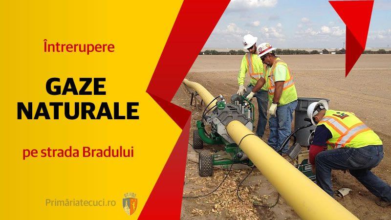 Întrerupere gaze naturale pe strada Bradului in Municipiul Tecuci