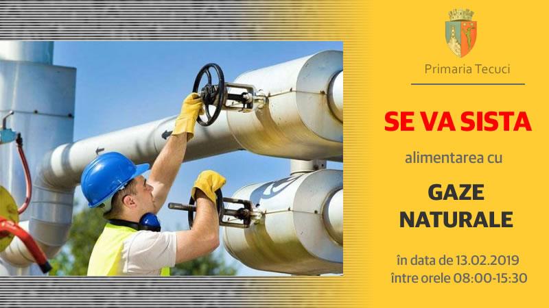 Întrerupere alimentare gaze naturale - Primaria Tecuci